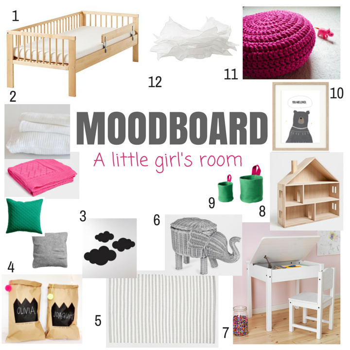 Decoração de quarto de criança: Moodboard 'A little girl's room'