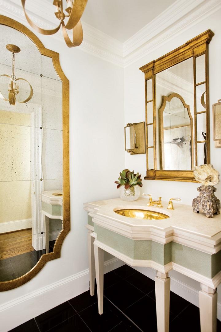espelhos dourados