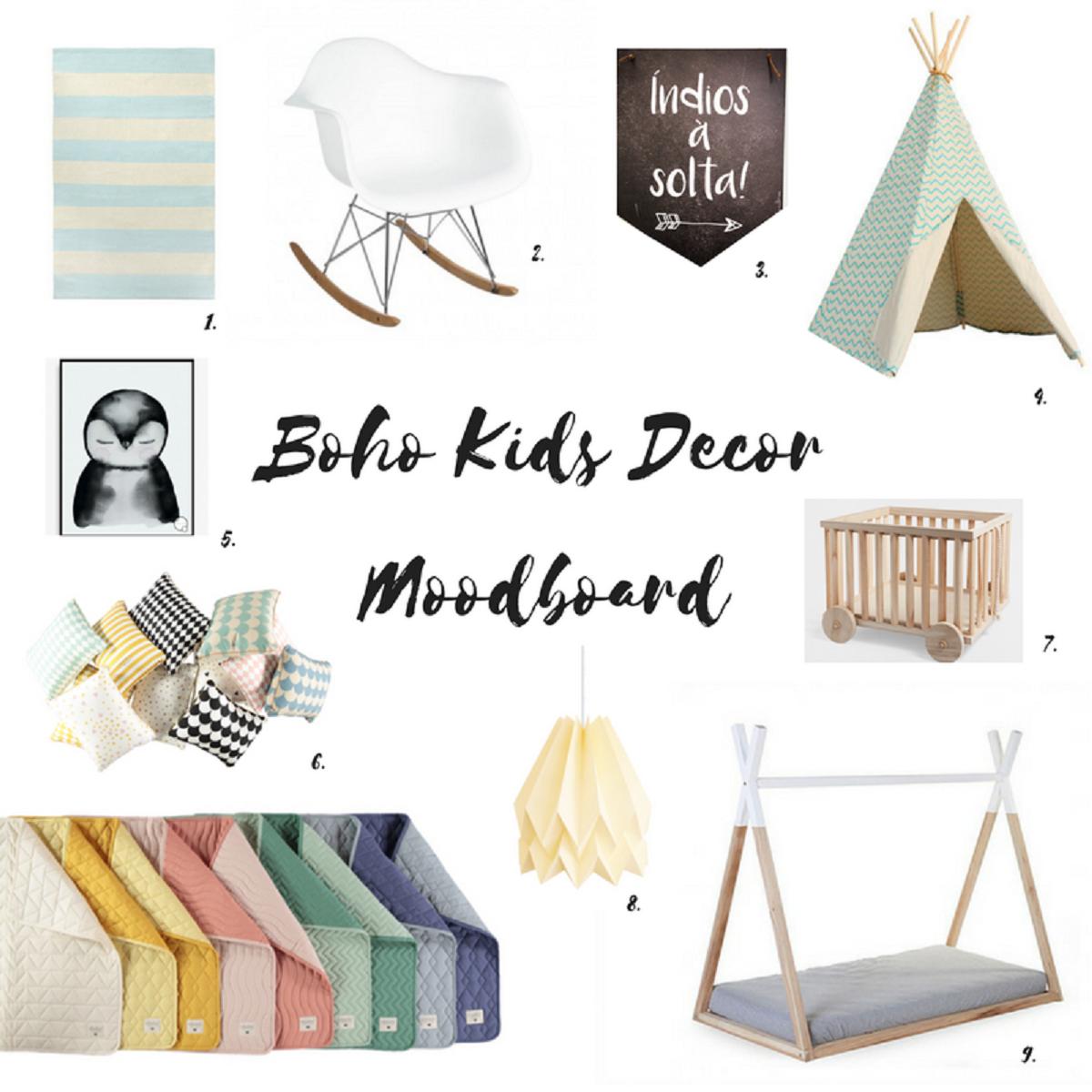 Decoração de quarto de criança: Moodboard 'Boho Kids Decor'
