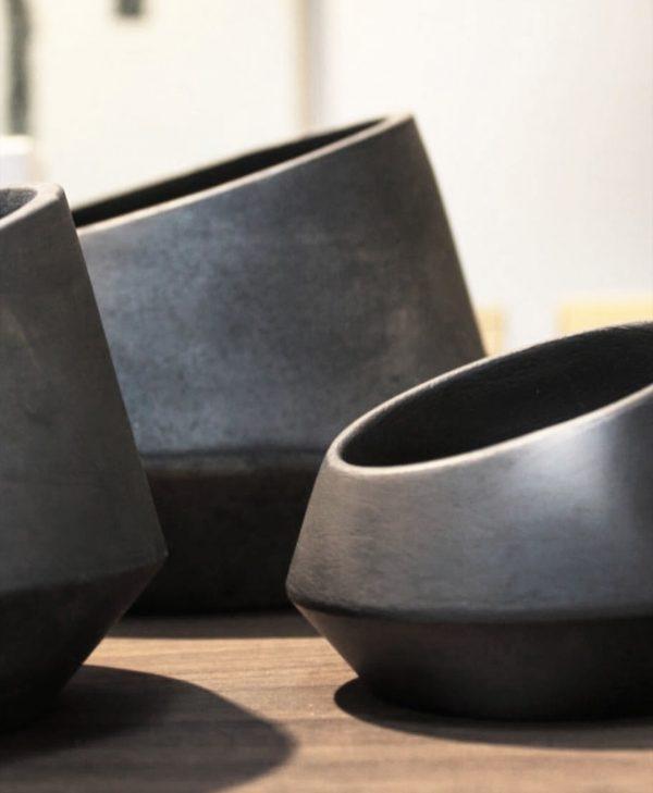 vaso ceramica preta