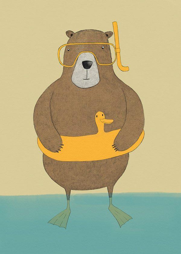 Ilustração diving bear